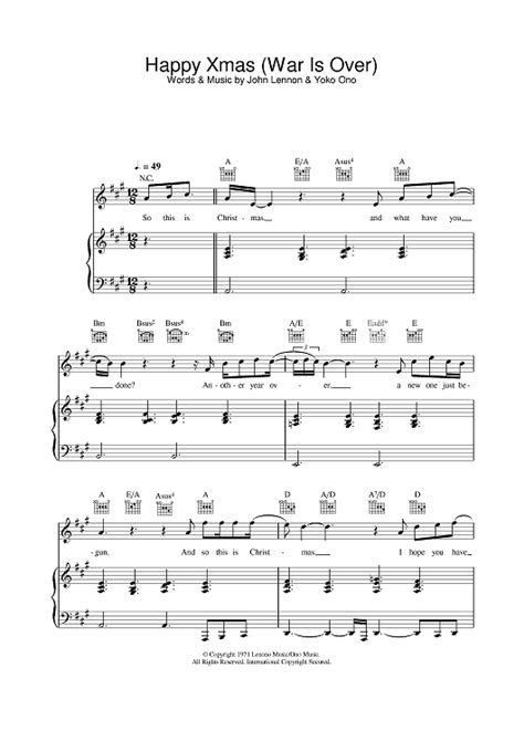 tutorial piano war is over happy xmas war is over sheet music for piano and more