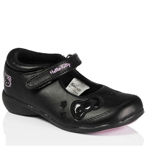 Hello Led Black Shoes Medium Size black hello peppa pig school black pumps velcro shoes size ebay