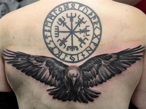 ravens tattoo nordic circle and i think it would look cleaner