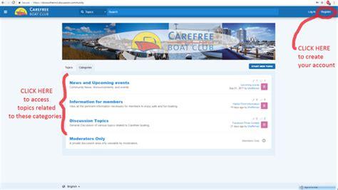 carefree boat club member login member s forum account creation carefree boat club