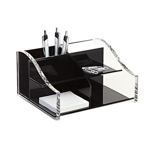 Realspace Acrylic Desk Organizer 4 516 X 7 18 X 8 18 Clear Desk Accessories