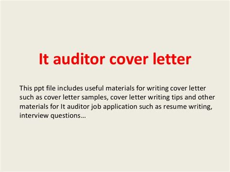 it auditor cover letter it auditor cover letter