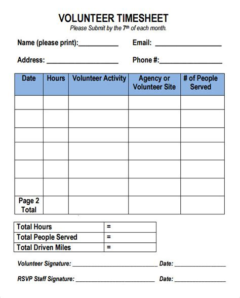 volunteer chart template volunteer timesheet template 9 free doccuments