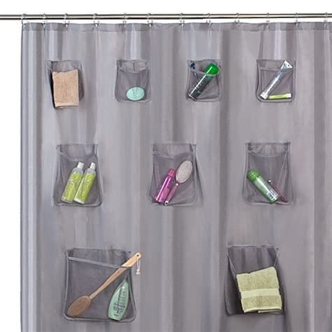 mesh pocket shower curtain mesh pocket 70 quot w x 72 quot l fabric shower curtain with set