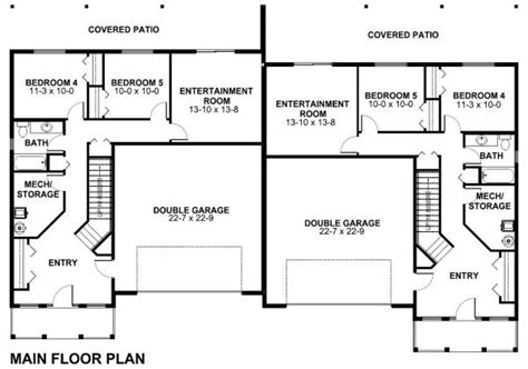 Split Entry Floor Plans Spacious Side By Side Duplex House Plan Hunters