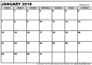 Calendar 2018 Pdf With Holidays January 2018 Calendar Pdf Calendar Printable Free