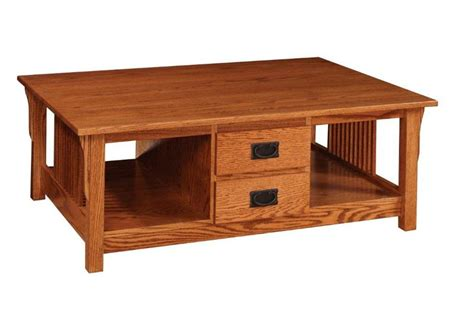 amish prairie mission coffee table with four drawers