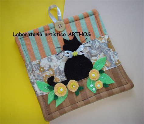 cucinare per il gatto presina gatto nero fatto a mano in tessuto decorazione