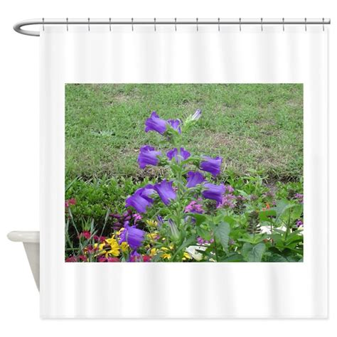 white curtains with purple flowers purple flowers shower curtain by chasingthegnome