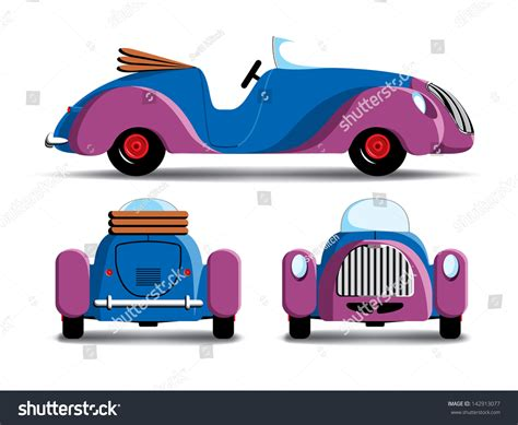 cartoon car back cartoon car rear front view stock illustration