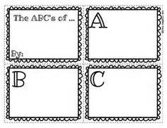 Printable Alphabet Book Template by Teaching Ela Abc Order On