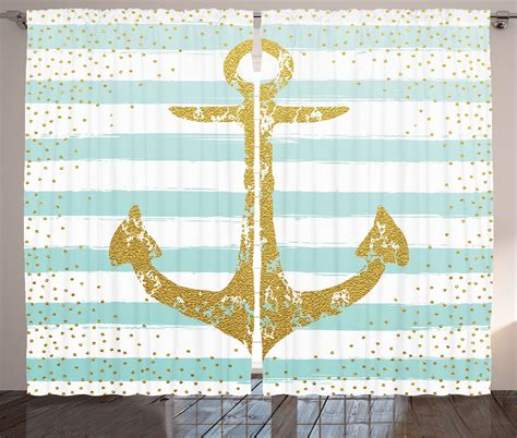 Nautical Striped Curtains Decor Nordic Marine Golden Anchor Striped Pattern Nautical Decor Curtain 2 Panels Set