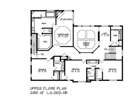 upper floor plan cottage house plan with 4 bedrooms and 3 5 baths plan 2087