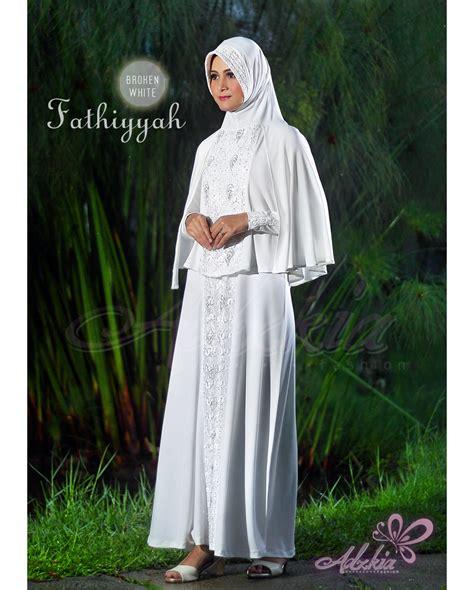 claura broken white syari fathiyyah syar i broken white baju muslim gamis modern