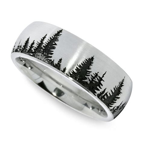 wedding ring tree design laser carved pine tree pattern s wedding ring in cobalt