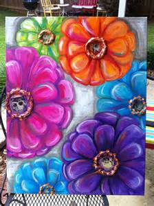 colorful mod flower painting jenny hall art