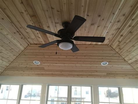 Recessed Lighting And Ceiling Fan Inside View Of Screen Room Hip Style Roof Cedar Tongue Groove Ceiling Recessed Lights