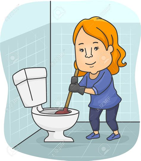 clean the bathroom women clipart cleaning toilet pencil and in color women