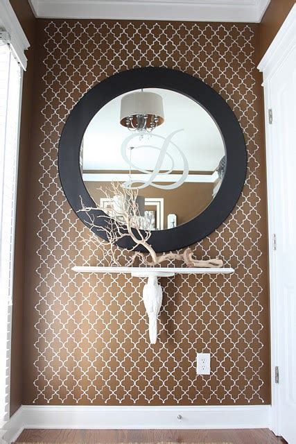arabesque wall stencil contemporary entrancefoyer