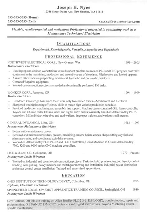 Maintenance Electrician Resume by Electrician Sle Resume Resume Writing Service