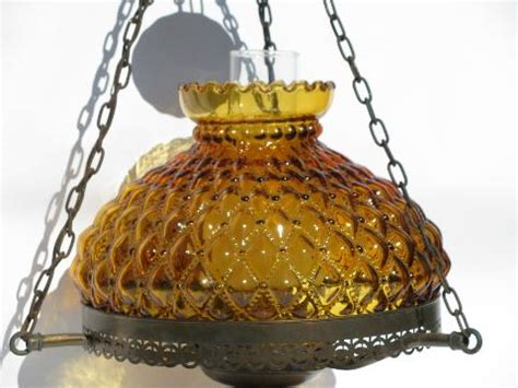 vintage farmhouse lamp hanging light fenton amber glass shade