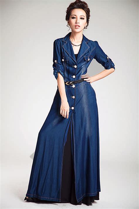 Sabiha Blazer With Maxi Satin s coats and jackets tencel silk maxi denim jacket coat outerwear blue for