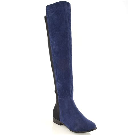 the knee high boots new womens high the knee stretch flat elasticated