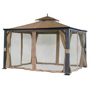 Lowes Patio Gazebo Shop Sunjoy Monaco Black Steel Rectangle Screen Included
