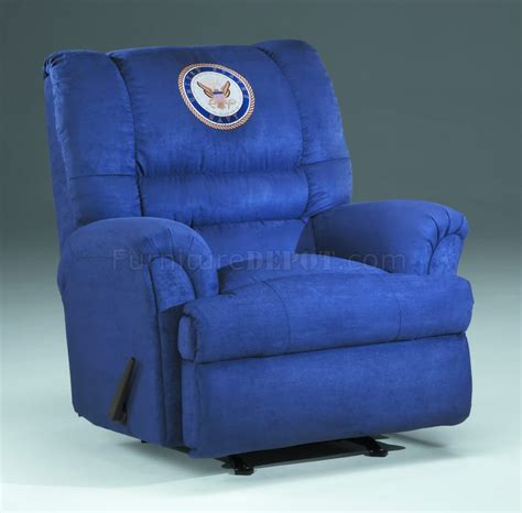 navy blue rocker recliner blue fabric modern rocker recliner w us navy emblem