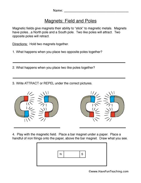 Magnets Worksheet by Magnets Worksheet Fields And Poles