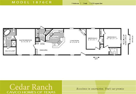 2 bedroom single wide floor plans cavco homes floor plan 1876cr 3 bedroom 2 bath single wide