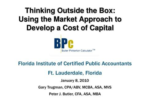 Of Florida Mba Cost by Ppt Thinking Outside The Box Using The Market Approach