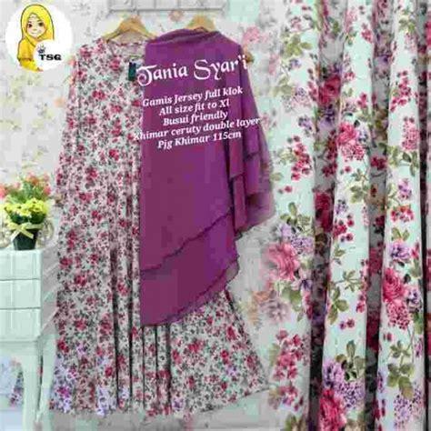 Marcella Ungu Rubiah Linen Syari gamis syar i cantik b048 tania baju musim murah terbaru