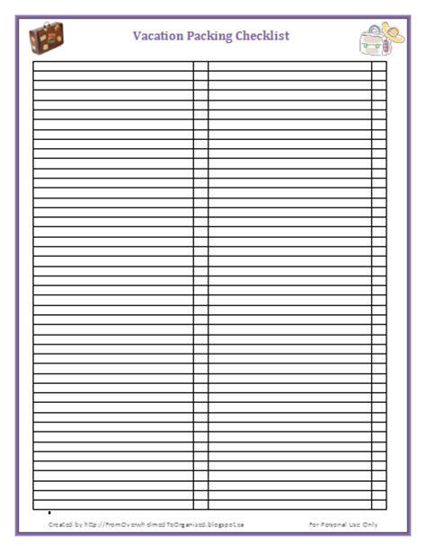 blank packing list template printable packing list you won t forget anything from overwhelmed to organized printable