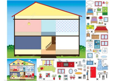 Paper Craft Home - house paper collage free printable papercraft templates