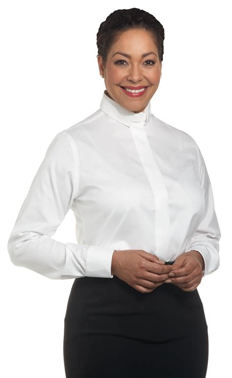 Blouse Tiara White womens tab collar clergy blouse sleeve white