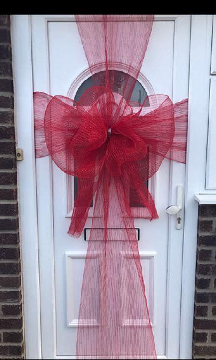 roll  wide mesh ribbon door bows outdoor