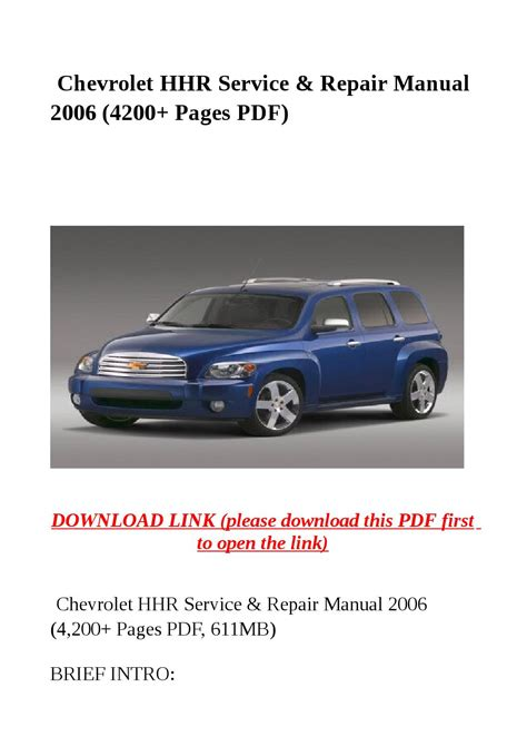 chevrolet hhr service repair manual 2006 4200 pages pdf by steve issuu