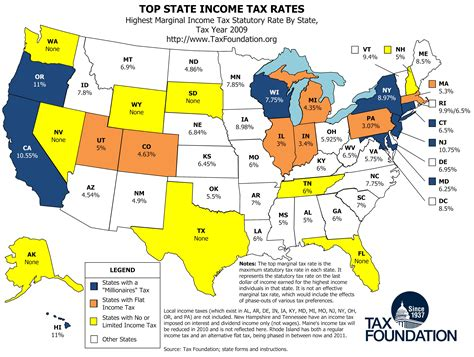 best state for map top state income tax rates tax foundation