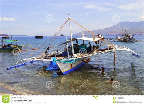 fishing boat in the philippines philippines fishing boat and children editorial stock