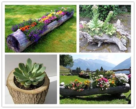 Diy Log Planter by Diy Log Garden Planters Gardening