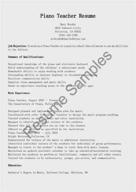resume sles piano teacher resume sle