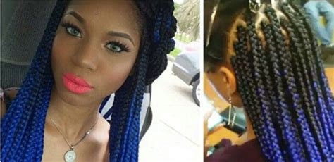 box braids in a bob with blue hair com black and blonde ombre box braids hairstylegalleries com