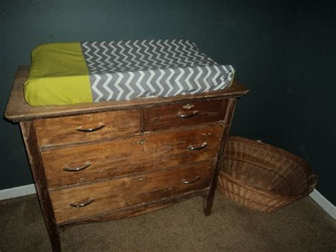 Green Changing Table Antique Dresser Used As Changing Table Lime Green And Gray White Chevron Diy Changing Pad