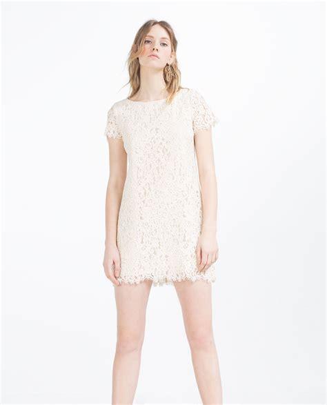 Dress H Lace White zara guipure lace dress in white lyst