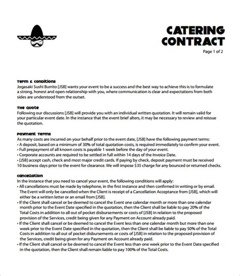 Catering Contract Template Word by Catering Contract Template 9 Free Documents In