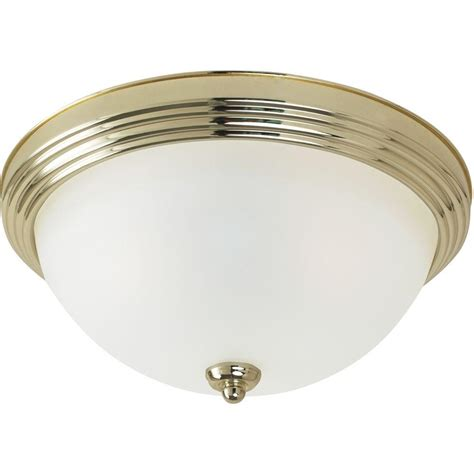 Sea Gull Lighting 3 Light Ceiling Polished Brass Flush Home Depot Flush Ceiling Lights