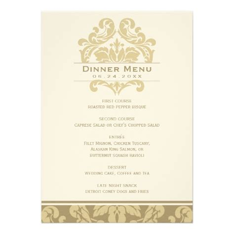 wedding dinner menu card chagne ivory gold 5 quot x 7