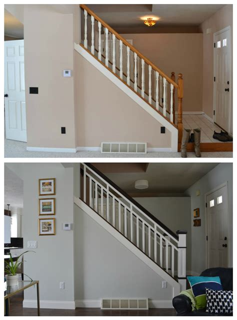 Building A Banister On A Staircase Diy Stair Railing Makeover Stairs Stair