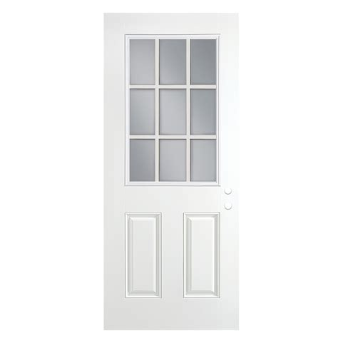 30x80 Exterior Door Shop Reliabilt Half Lite Clear Prehung Outswing Fiberglass Entry Door Common 30 In X 80 In